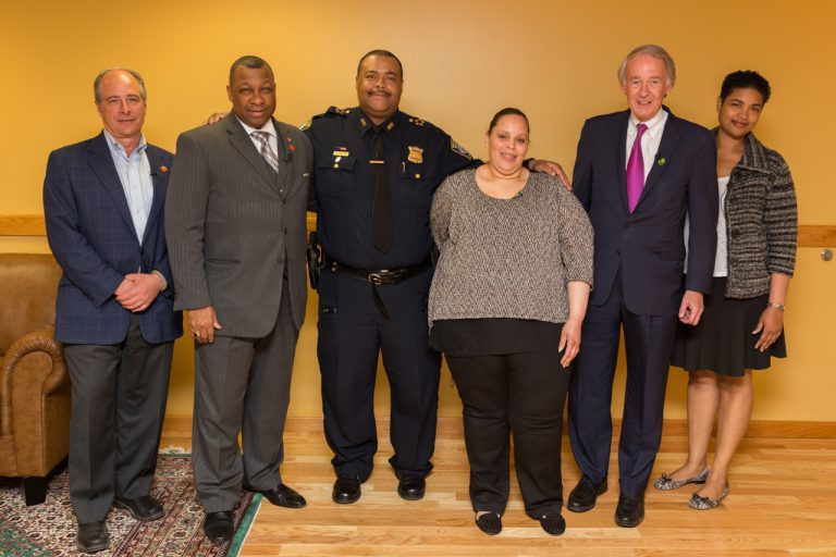 "Sheriff Steven W. Tompkins (2nd from left) with panelists for ""A Discussion About Gun Safety"": U.S. Senator Edward Markey (2nd from right), Boston Police Department Superintendent-In-Chief William Gross (3rd from left), Suffolk County Assistant District Attorney Tonya Platt (far right), Founder of Stop Handgun Violence John Rosenthal (far left), and Ada Pantoja, formerly of Operation L.I.P.S.T.I.C.K."